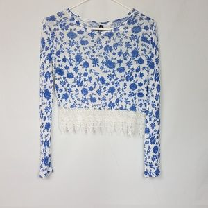 Divided H&M Crop Top White and Blue Size XS A79